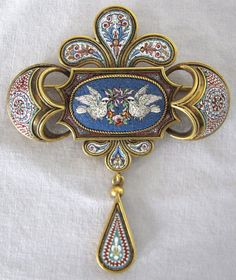 """Victorian 18K Gold Micro Mosaic Brooch with 1200 glass pieces per square inch. Approximately 2.5"""" x 2"""".  eBay"""