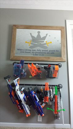 Protect This House Nerf Gun Rack Toy Rooms Gun House Nerf Protect Rack Toy Rooms Gun House Nerf Protect Rack rooms Toy Nerf Gun Storage, Diy Toy Storage, Storage Ideas, Diy Bathroom, Toy Rooms, Toy Organization, Bedroom Organization, Kids Playing, Boys Room Ideas