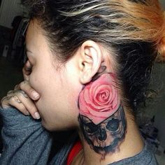 Neck tattoo with a skull and pink rose | Tats I love | Pinterest ...