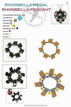 Ewa gyöngyös világa!: Rhombella medál minta / Rhombella pendant pattern