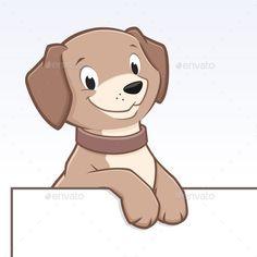 Cute cartoon dog for frame border element