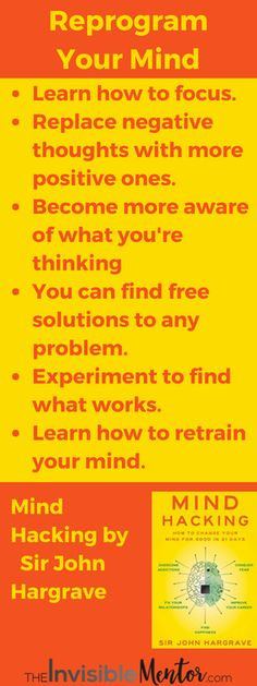 REPROGRAM YOUR MIND IN 21 DAYS! Do you have a problem focusing on any one thing for a long time? Do you find that you think more negative thoughts than positive ones. What if there was a way for you to replace negative thoughts with more positive ones would you be interested? This is the kind of information you will find in Mind Hacking by Sir John Hargrave.