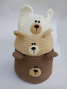 Crochet basket 62206038591975145 - Bear nursery decor, Bear basket, Crochet nursery basket, Woodland bear storage Source by rachaelol Crochet Bear, Crochet Home, Crochet Gifts, Cute Crochet, Crochet Basket Pattern, Knit Basket, Crochet Patterns, Crochet Baskets, Knitting Projects