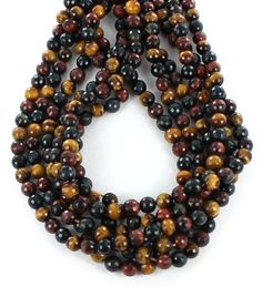 FACETED MULTI COLOR TIGEREYE BEADS 8mm from New World Gems