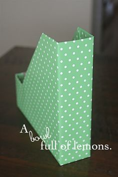 Super easy, sturdy and inexpensive method to make your own file box. Customize with your favorite paper to match your space. Via A Bowl Full of Lemons