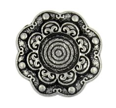 Tribal Flower Antique Silver Metal Shank Buttons - 23mm - 7/8 inch