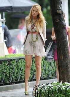 "Blake Lively on the set of ""Gossip Girl"" in New York"