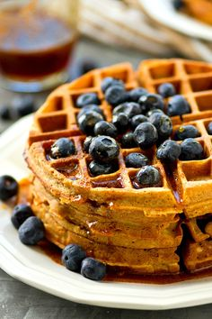 Unbelievably light, crispy, and covered in a warm chai-spiced maple syrup, these easy coconut oil waffles are quickly going to become a breakfast staple in your house!