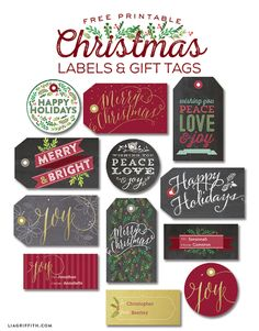Printable Christmas Labels Tags and Labels FREE on the blog.worldlabel.com Designed by @liag #christmas
