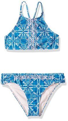 c42ad80c54fef Amazon.com: Roxy Big Girls' Sunny Dreams RG Crop Top Swimsuit Set, Rose  Quartz Havana Tile, 7: Clothing