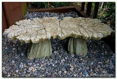 Concrete bench made from leaf castings. From A NOT so secret garden on facebook. Very cool!