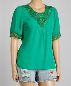 Look what I found on #zulily! IRE Green Lace Scoop Neck Top - Plus by IRE #zulilyfinds