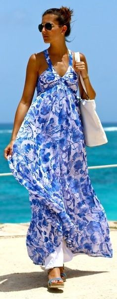 #summer #maxi #dress | Blue And White Criss Cross Strap Backless A Lined Floral Print Maxi Dress