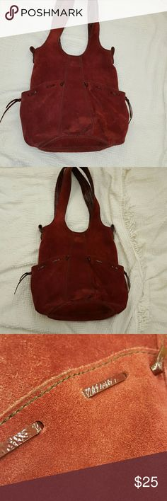 SALE Lucky Brand Francoise Red Suede Hobo 44ec23ef6e