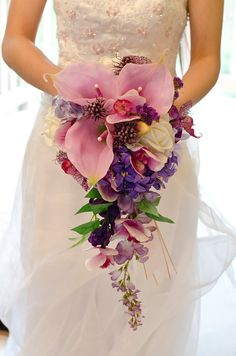 Real Touch Orchid & Calla Lily Purple Wedding Bouquet Cascading Bridal Style - Package with Bridal Bouquet and Grooms Boutonniere as Extra