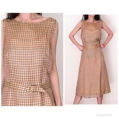 ea05e67769 90s gingham dress women L 8 gingham midi sleeveless vintage sundress preppy  plaid dress