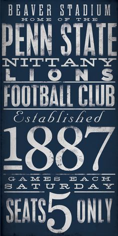 Penn State Nittany Lions football typography by geministudio, $110.00