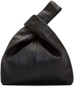 McQ Alexander McQueen: Black Perforated Leather Tote Bag | SSENSE