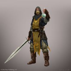 Tygrall Krymor, leader of the daemonhunters of the Ania order in Alasanaria, found a bottle with magic liquid in a Daemoni temple.