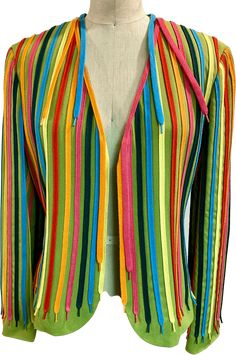 rainbow shoe tie novelty blazer by Moschino Cheap and Chic. marked size 10 underarm 38 sleeve 23 Rainbow Shoes, Green Blazer, Tie Shoes, Underarm, Moschino, Size 10, Chic, Lace, Sleeves