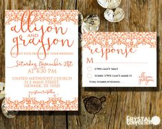 Express your modern style with this beautiful coral and lace invitation suite from Crystal Composition. 1) Select an Option  2) Add this listing to your cart, and purchase it.  3) In the NOTES TO SELLER box,please INCLUDE the following:  -Names -Date -Time -Address of Ceremony/Reception -RSVP info -Other wording you want included thats different then original *  Simply copy and paste this in NOTES TO SELLER box so you can fill out the needed info for your custom wedding stationary. If you…