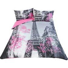 SHABBY CHIC VINTAGE PARIS EIFFEL TOWER DOUBLE DUVET COVER BEDDING SET BNWT