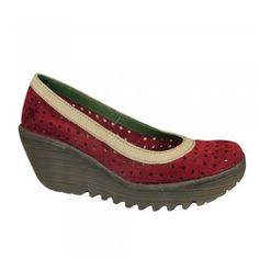 Fly London Shoes Fly London Yedi Perf Red/Off White/Khaki
