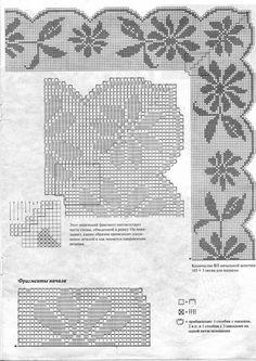 View album on Yandex. Filet Crochet, Crochet Motif, Crochet Doilies, Crochet Patterns, Crochet Curtains, Crochet Tablecloth, Cross Stitch Borders, Crochet Magazine, Household Items