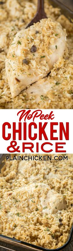 No-Peek Chicken and Rice - super easy dinner recipe! Chicken breasts rice cream of chicken soup cream of mushroom soup chicken broth onion soup mix. Mix everything in the baking dish and pop in the oven. SO easy and everyone cleaned their plate! Turkey Recipes, New Recipes, Cooking Recipes, Drink Recipes, Favorite Recipes, Baked Chicken Breast, Chicken Breasts, No Peek Chicken, Recipe Chicken