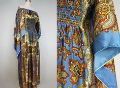 Items similar to silk scarf maxi dress/ blue paisley maxi/ hippie boho/ gypsy/ goddess/ medium- one size on Etsy Boho Gypsy, Hippie Boho, 1970s, Paisley, Kimono Top, Trending Outfits, Blue, Etsy, Vintage