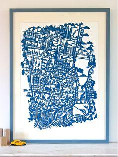 New York City Map Print   famille Summerbelle