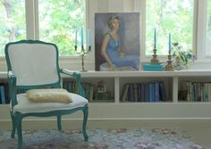 Annie Sloan chalk painted chair (Florence on wood, Pure White on fabric)
