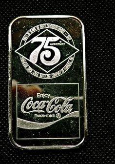 1 oz Silver Bar - Coca Cola 75th Anniversary Roanoke, VA. Silver Investing, Silver Bullion, Silver Bars, Coke, Coca Cola, Anniversary, Bottle, Ebay, Flask