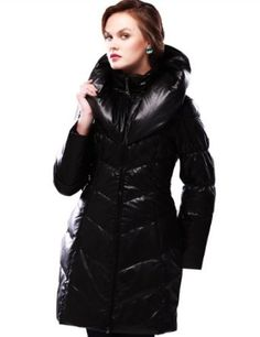 Maxchic Women's Exaggerated Collar Elastic Belt Waterproof Leathery Down Coat D63001S11M,Black,Medium Maxchic. $288.00