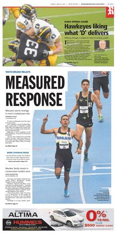 News design: April 26 Des Moines sports cover.