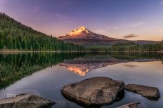 Trillium Lake, in Oregon east of Portland, at sunset in late March. Trillium Lake, Oregon Washington, Lake Forest, Out Of This World, Pacific Northwest, Beautiful Landscapes, Cool Photos, Mountains, Sunset
