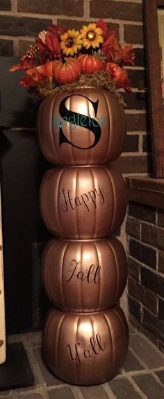 happy fall y all pumpkin topiary, gardening, add the words