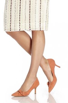 Lush coral suede mid heels pumps with pointed toes and ladylike bows