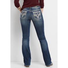 maurices Vigoss Bootcut Jeans With Arrow Stitching And Sequins,... ($88) ❤ liked on Polyvore featuring jeans, maurices jeans, bootcut jeans, sequin jeans, boot-cut jeans and maurices