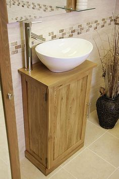 Solid Oak Bathroom Vanity Unit Basin Floor Cabinets Marble