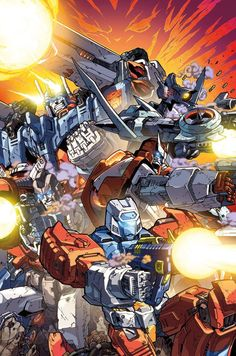 Ultra Magnus leading some Autobots