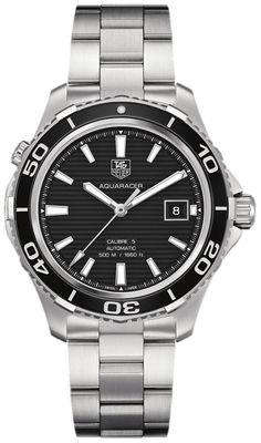 WAK2110.BA0830 NEW TAG HEUER AQUARACER CALIBRE 5 500M MENS WATCH IN STOCK - FREE Overnight Shipping | Lowest Price Guaranteed - NO SALES TAX (Outside California)- WITH MANUFACTURER SERIAL NUMBERS - Black Dial - Black Ceramic Bezel- Self Winding Automatic Calibre 5 Movement- 3 Year Warranty- Guaranteed Authentic- Certificate of Authenticity- Brushed with Polished Stainless Steel Case