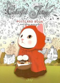 Color Theraphy Colorful Jetoy Postcard Coloring Book Illustrate Card Paperback