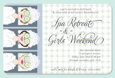 Inviting Co Spa Retreat & Girls Weekend Bachelorette Party Invitation #bride #wedding #bachelorette #spa #retreat