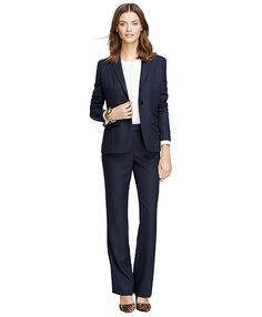 Classic Fit One-Button Wool JacketNavy