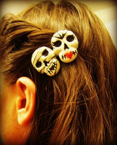 Mummy and Lady Skull Horror Duo Hair Clip by HauntedHairCandy, $9.00