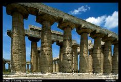 Columns of Greek Temple of Neptune. Campania, Italy