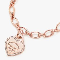 Return to Tiffany™ heart tag bracelet in 18k rose gold. #TiffanyPinterest