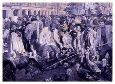 Venta de pavos en la plaza Mayor de Madrid Navidad 1906