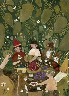 "thepocket-mouse: "" Garden Supper New painting! I always used to love leaving out little feasts for the faeries when I was little! Mouse Photos, Faeries, Artsy, Fairy, Christmas Ornaments, Holiday Decor, Garden, Handmade, Painting"